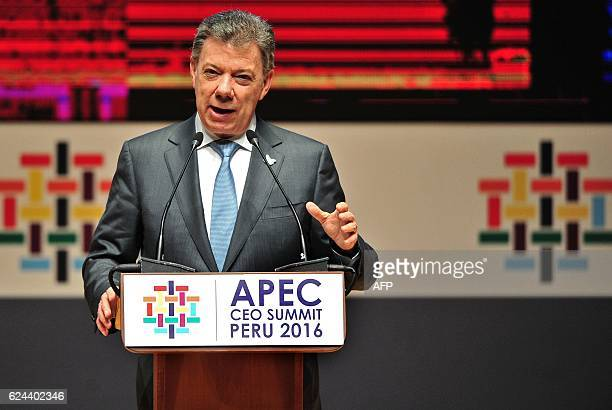 Colombia's President Juan Manuel Santos speaks during the CEO Summit within the AsiaPacific Economic Cooperation Summit in Lima on November 19 2016...