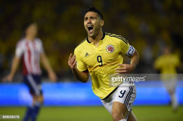 Colombia's Radamel Falcao celebrates after scoring against Paraguay during their 2018 World Cup football qualifier match in Barranquilla Colombia on...