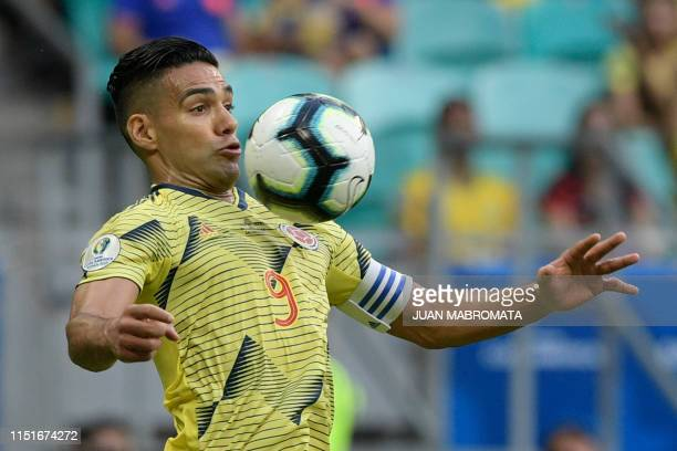 Colombia's Radamel Falcao controls the ball during the Copa America football tournament group match against Paraguay at the Fonte Nova Arena in...