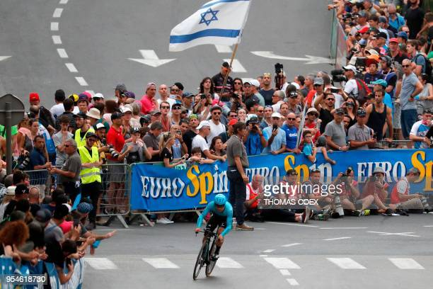 Colombia's rider of team Astana Miguel angel Lopez rides during the 1st stage of the 101st Giro d'Italia Tour of Italy on May 4 a 97 kilometers...