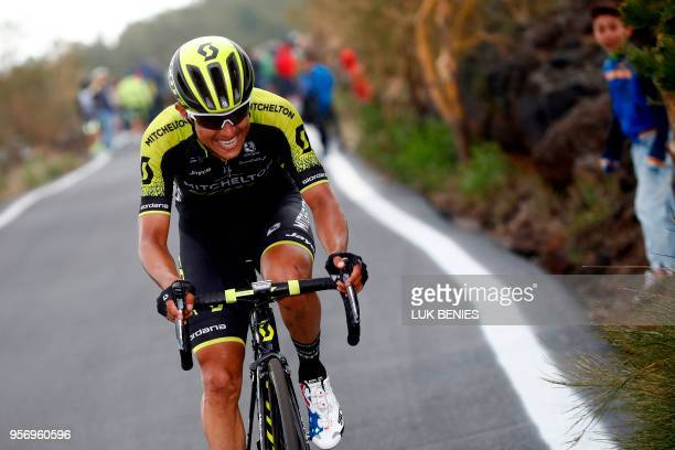Colombia's rider of team Mitchelton-Scott Johan Esteban Chaves climbs the Etna volcano during the 6th stage between Caltanissetta and the Mount Etna...