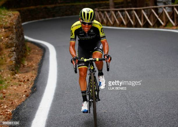 Colombia's rider of team MitcheltonScott Johan Esteban Chaves climbs the Etna volcano during the 6th stage between Caltanissetta and the Mount Etna...
