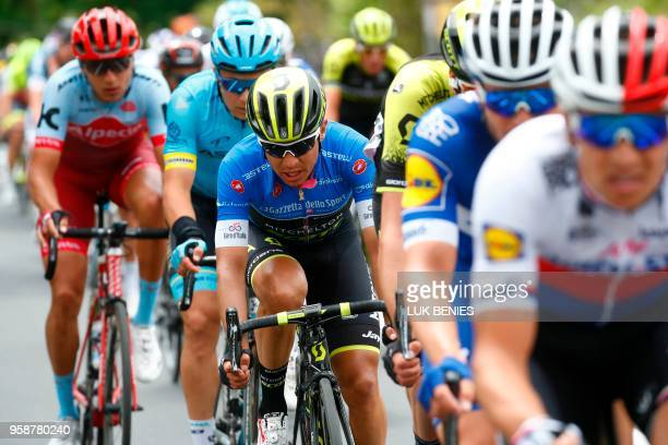 Colombia's rider of team MitcheltonScott Johan Esteban Chaves rides near Amandola during the 10th stage between Penne and Gualdo Tadino during the...