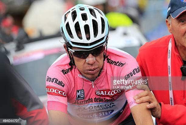 Colombia's Rigoberto Uran crosses the finish line of the 16th stage of the 97th Giro d'Italia cycling race 139 km from Ponte di Legno to Val Martello...