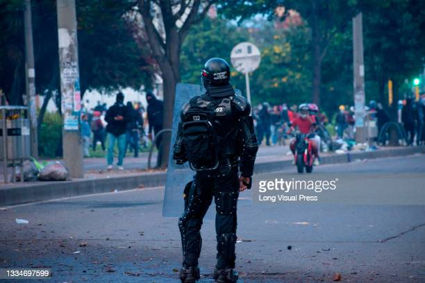 Colombia's riot police officer during anti-government that ended in clashes between protesters and Colombia's riot police amid the eviction of...