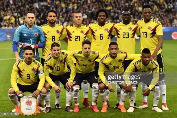 Colombia's team players pose prior to the friendly football match between France and Colombia at the Stade de France in SaintDenis on the outskirts...