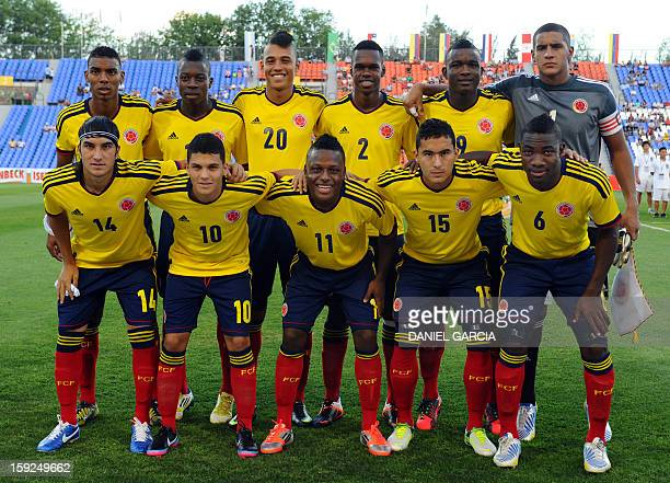 Colombia's U-20 national team poses for photographers before their South American U-20 Championship Group A football match against Paraguay at...