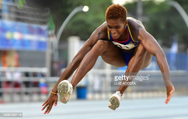 Colombia's Yosiri Urrutia competes in the women's triple jump competition during the 2018 Central American and Caribbean Games in Barranquilla,...