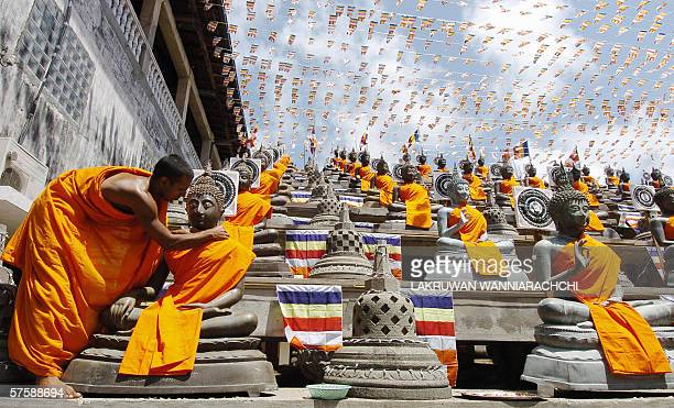 A Sri Lankan Buddhist monk places robes on a statue at a temple in Colombo 12 May 2006 on the holiest Buddhist festival of Wesak which marks the...