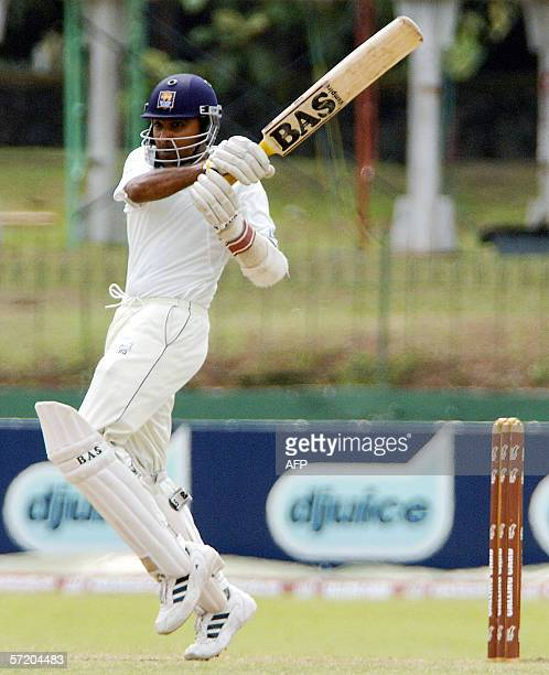 Sri Lanka cricketer Kumar Sangakkara plays a shot during the fourth day of the first Test match between Sri Lanka and Pakistan at the Sinhalese...