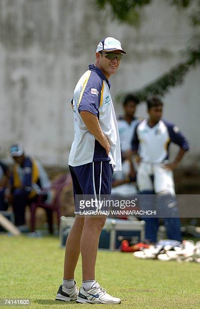 Sri Lankan cricket coach Tom Moody watches the national team practice at the Nondescript Cricket Club in Colombo 14 May 2007 The cricket team is...