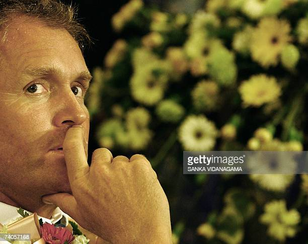 Sri Lankan cricketer coach Tom Moody looks pensive during official ceremonies to welcome the national team on their return from the World Cup series...