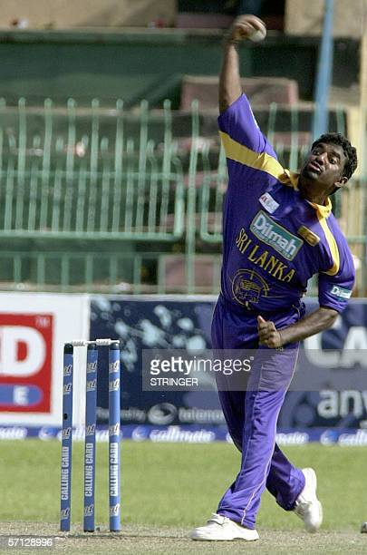 Sri Lankan cricketer Muttiah Muralitharan delivers a ball during the second One Day International match between Sri Lanka and Pakistan at The...
