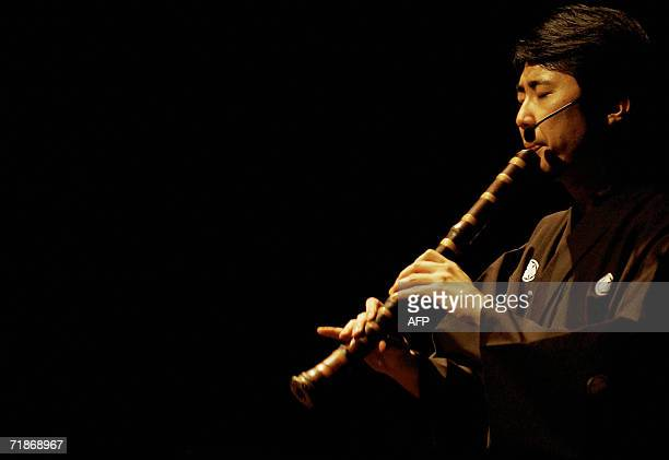 The Japanese musician Hiromu Motonaga plays a traditional Japanese musical instrument Shakuhachi during the Sounds of Traditional Japan Today concert...