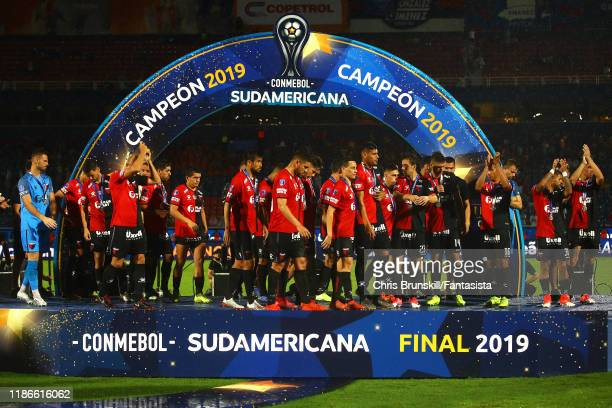 Colon players walk off the presentation stage following the final of Copa CONMEBOL Sudamericana 2019 between Colon and Independiente del Valle at...