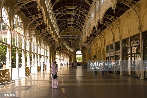 colonada interior of spa building. - karlovy vary stock pictures, royalty-free photos & images