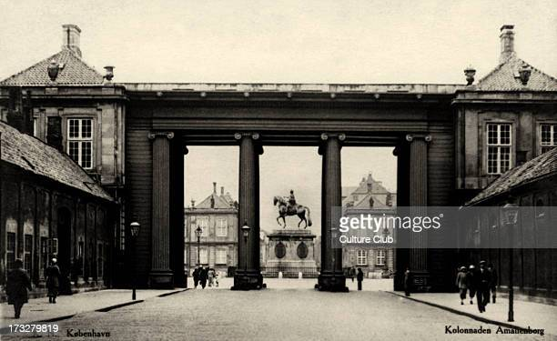 Colonade at Amalienborg Copenhagen Denmark Danish royal residence Early 20th century Shown in centre of square equestrian statue of King Frederick V...
