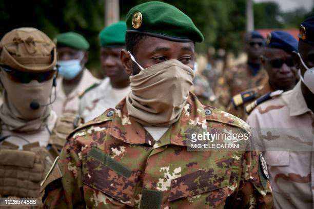 Colonel Assimi Goita, president of the CNSP , arrives at the funeral of former Mali President General Moussa Traore in Bamako on September 18, 2020....
