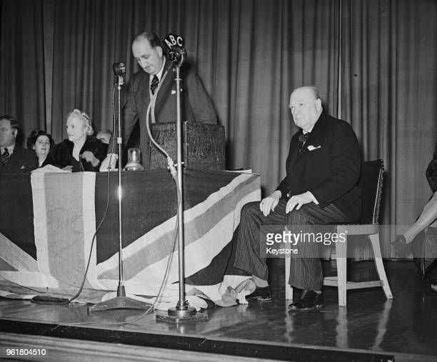 Colonel Augustus Charles Newman, VC of the British Army speaks at the Buckhurst Hill County High School before Winston Churchill's address, as part...