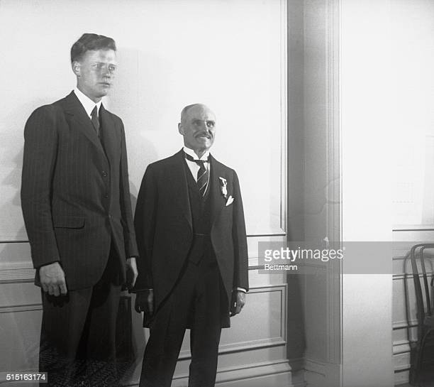 Colonel Charles A. Lindbergh and Raymond Orteig posed together at Hotel Brevport here after Lindy had received the $25,000 Orteig prize for first...