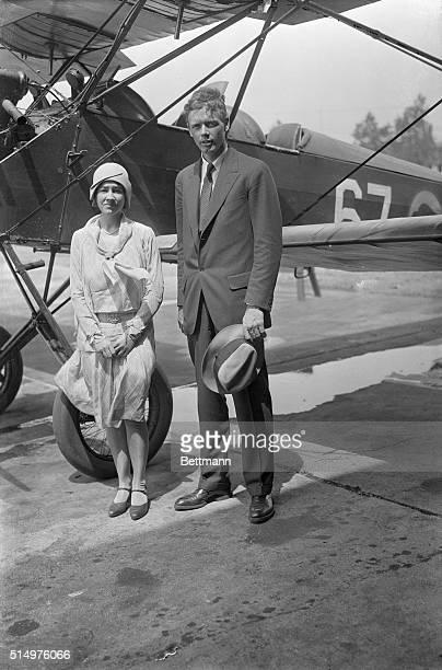Colonel Charles Lindbergh and his wife took off from Roosevelt Field Long Island in a Lockheed Vega plane loaned to him by August Belmont on a...