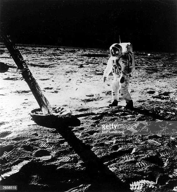 Colonel Edwin or 'Buzz' Aldrin walking on the surface of the moon during the Apollo 11 mission In 1969 he set a world record of walking on the moon...