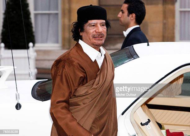 Colonel Gaddafi arrives at Le palais de l'Elysee on December 10 2007 in Paris France The Libyan leader Muammar Gaddafi will spend five days in France...