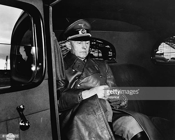 Colonel General Alfred Gustav Jodl arrives to sign the surrender of Germany to Allied forces Rheims France May 7 1945