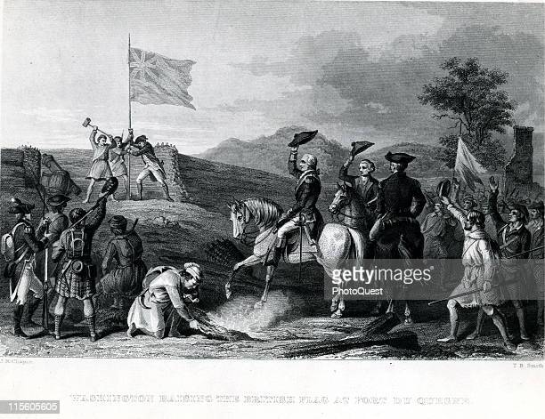 Colonel George Washington leads the Virginia regiment in claiming the French fort for the British in 1758 and is pictured raising the British flag at...