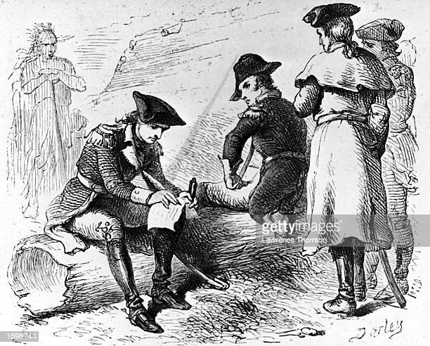 Colonel George Washington of the Virginia militia signs a document capitiulating to the French as Captain James Mackay of a South Carolina Regiment...