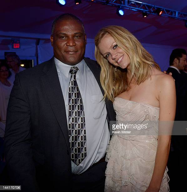 Colonel Gregory D Gadson and actress Brooklyn Decker pose at the after party for the premiere of Universal Pictures' Battleship at LA Live on May 10...
