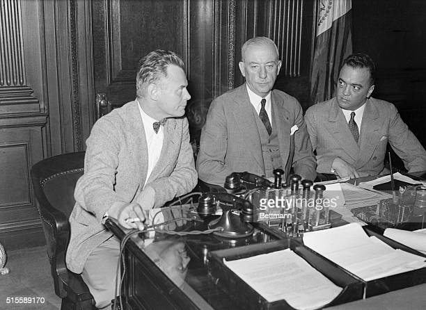 Colonel H Norman Schwartzkopf head of the New Jersey State Police Commissioner John F O'Ryan of the NYC Police Department and J Edgar Hoover of the...