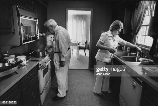 Colonel Harland David Sanders and his wife Claudia in their kitchen Kentucky September 1974