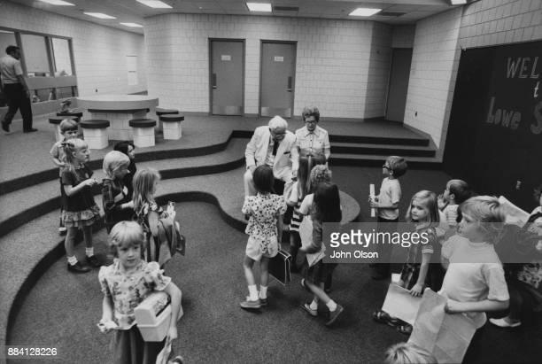 Colonel Harland David Sanders and his wife Claudia in visit an elementary school in Kentucky September 1974 Photo by John Olson/The LIFE Images...