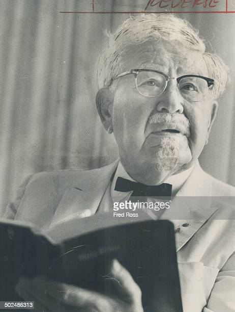 Colonel Harland Sanders the chicken king says he and his wife vowed to tithe 10 per cent of their income in return for good health but adds Ah know...