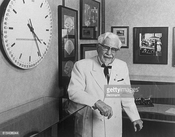 Colonel Harland Sanders the founder of Kentucky Fried Chicken is shown here as he celebrates his 88th birthday