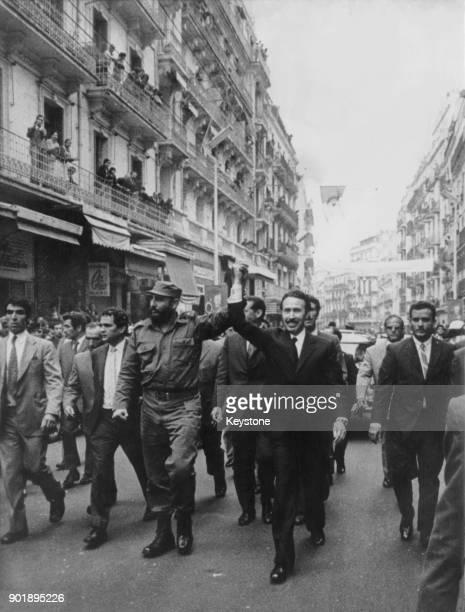 Colonel Houari Boumédiène the Algerian leader takes Cuban premier Fidel Castro on a tour of Algiers Algeria during an official visit 15th May 1972