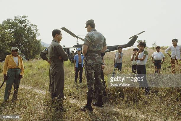 Colonel James Steele of the US Army a special forces adviser to the Salvadoran Army during the Salvadoran Civil War in El Salvador 1985 In the...