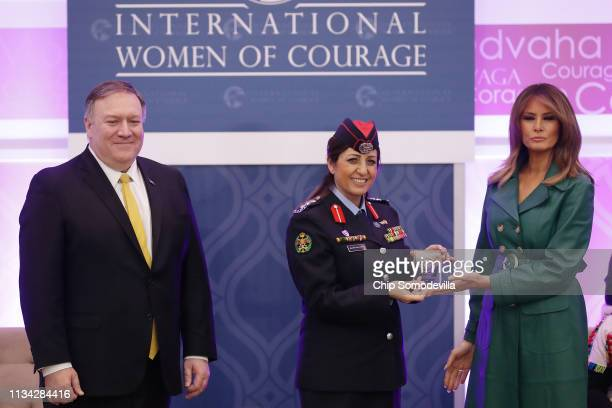 Colonel Khalida Khalaf Hanna alTwal of Jordan is given the International Women of Courage Award by US Secretary of State Mike Pompeo and US first...
