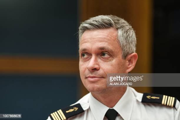 Colonel Lionel Lavergne head of French Presidency Security Group sits before the Senate Law Commission in Paris on July 30 2018 for a hearing as part...