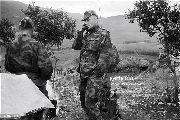 Colonel Marcel Bigeard maintaining radio contact with other paratrooper units during'Operation Bigeard' in March 1956 when an armed outbreak in...
