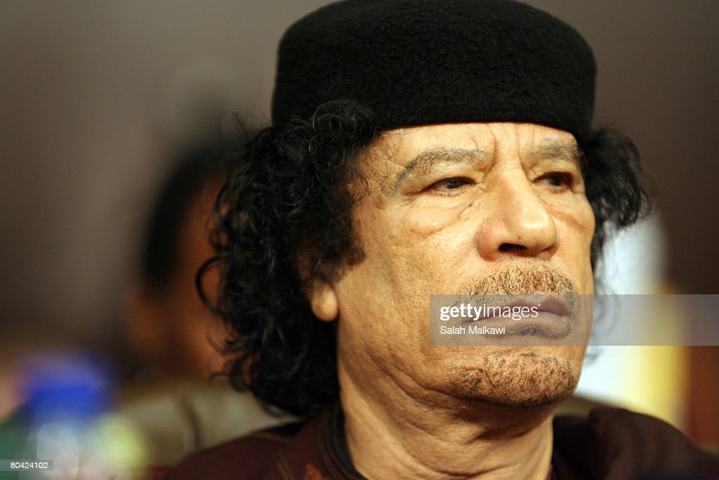 Colonel Muammar Gaddafi attends the opening of the Arab Summit on March 29, 2008 in Damascus, Syria. The Arab summit will be held in the Syrian capital from March 29-30.