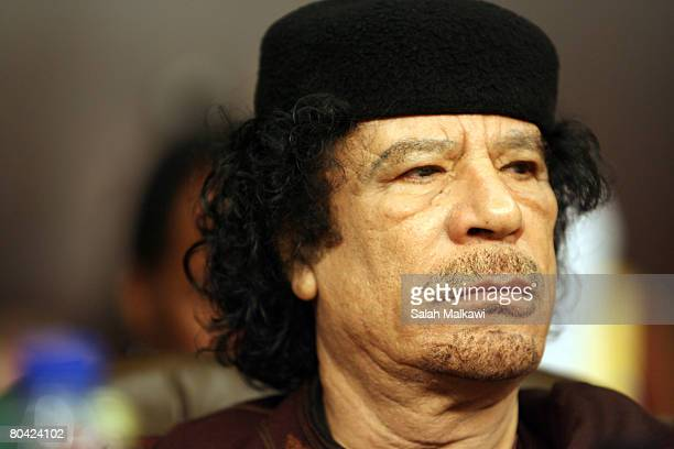 Colonel Muammar Gaddafi attends the opening of the Arab Summit on March 29 2008 in Damascus Syria The Arab summit will be held in the Syrian capital...