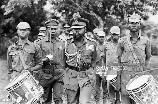 Colonel Odumegwu Ojukwu the Military Governor of Biafra in Nigeria inspecting some of his troops 11th June 1968 The Nigerian Civil War also known as...