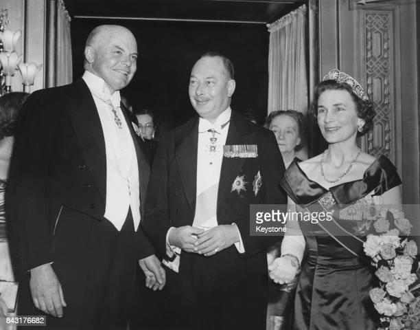 Colonel Sir Charles Hambro, left), Chairman of the Anglo-Danish Society, with the Duke and Duchess of Gloucester at the society's Silver Jubilee...