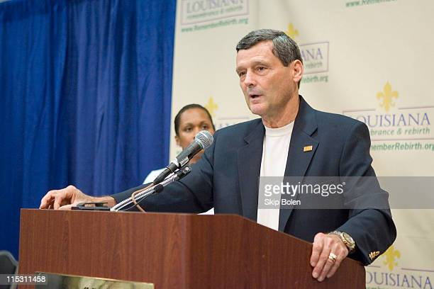 Colonel Terry J Ebbert updates the press on Tropical Storm Ernesto at the New Orleans Media Center in New Orleans Louisiana on August 26 2006 He...
