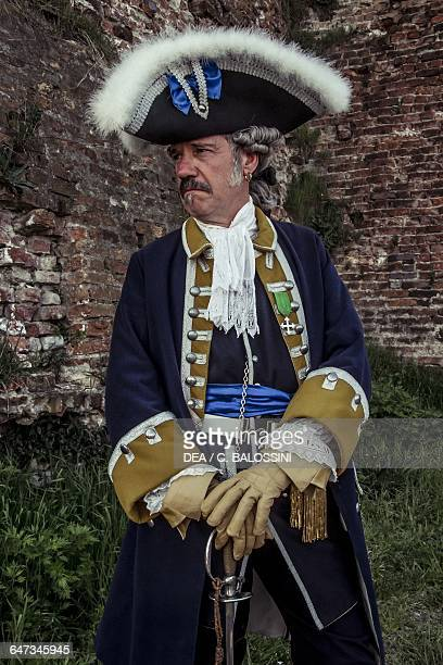 Colonel with tricorn Kalbermatten Regiment Swiss Infantry in service to the army of the Kingdom of Sardinia 1747 War of the Austrian Succession 18th...