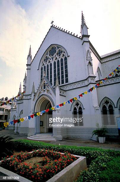 Colonial architecture in the Brazilian Quarter of Lagos the largest city in Nigeria West Africa A view of the Anglican Church