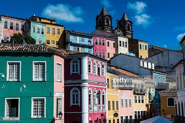 colonial architecture in the pelourinho, unesco world heritage site, salvador da bahia, bahia, brazil, south america - バイア州 ストックフォトと画像