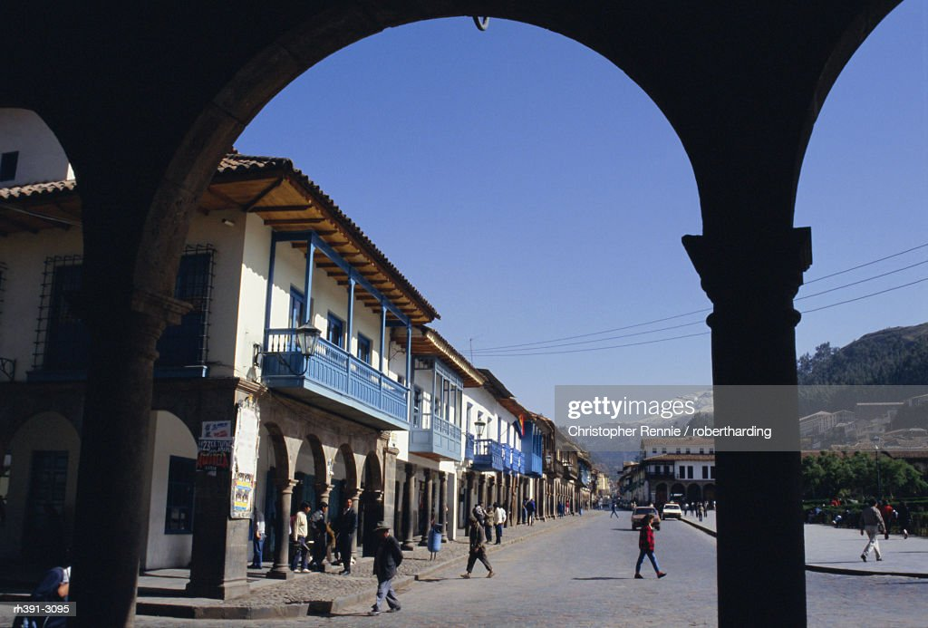 Colonial balconies, Plaza de Armas, Cuzco, Peru, South America : Stockfoto